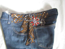 VALENTINO Roma Embroidery Stoned Bow dress-y jeans/pants IT 38,US 0-4.XXS-XS
