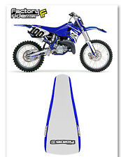 1998-2005 YZF 250/450 SEAT COVER BLUE SIDES W/ WHITE TOP STANDARD GRIPPER