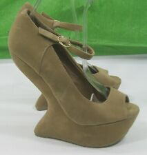 """New Beige 6""""Wedge Heel LESS 1.5"""" Sexy Platforms Ankle Strap Open Toe Size 8"""