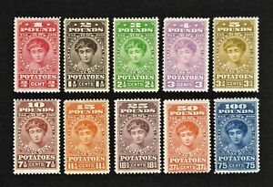 RI1-RI10 Potato Tax Stamps MNH-MLH