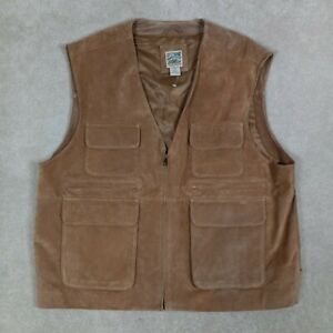 TravelSmith Men's XXL Vest Leather Suede Shearling Brown Machine Washable NWOT