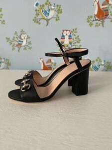 Gucci New Authentic Horsebit Block Heel Sandals Size 35.5