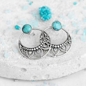 Bohemian Handmade Hollow 925 Silver Turquoise Drop Dangle Vintage Earrings Hook