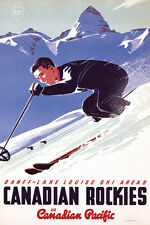 Banff-Lake Louise Skiing In Canadian Rockies c.1953 24x36 Reprint Edition Poster
