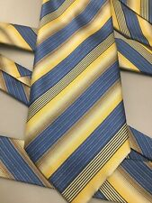 "Firenze Italy 100% Silk Tie Blue with Yellow Gold Stripes 3.75"" x 60"""