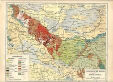 Carta geografica antica THURINGEN TURINGIA carta geologica 1890 Old antique map