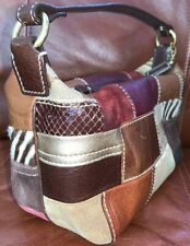 """Coach Signature Patchwork Brown Leather Suede Mini Hobo Bag Purse Baby Bag 9"""""""