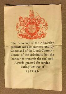 WW2 Medal Postage Box Transmittal Slip SECRETARY OF THE ADMIRALTY Document NAVY