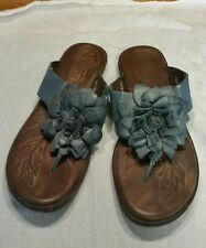 Women's Born Sandals Size 9/39.5 Thong Flip Flops Blue Leather with flower