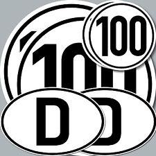 6 Stück Aufkleber 100 kmh km/h 20cm + 10cm + Länderkennzeichen Deutschland D