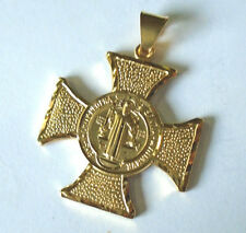 14k Saint Benedict San Benito Gold Plated Chapa de Oro Cross Pendant