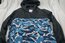 Zara Men Denim Mens XL 1/4 zip Rain Coat Black Blue Camo B616