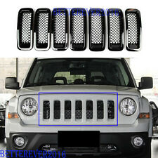 ABS Front Mesh Grille Insert Trim Frame Covers-Black For 2011-2017 Jeep Patriot