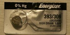 Energizer Watch Battery 393/309 replaces SR754SW, SR754W, V393, V309, Type `F`