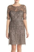 ADRIANNA PAPELL BEADED COCKTAIL LEAD COLOR DRESS sz 14