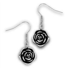Stainless Steel ROSE Flower Dangle Hook Jewelry Earrings