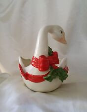 Fitz & Floyd Bows and Holly Goose Planter