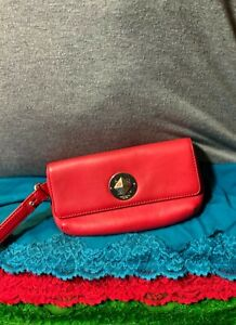 Kate Spade Red Pebble Grain Leather Flap Turn Lock Wallet Clutch Wristlet