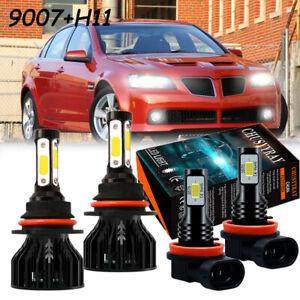 For Pontiac G5 2007 2008 2009 2010 4x Combo 9007 H11 LED Headlight Fog Light Kit