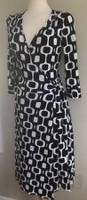 Women's  BISOU BISOU Black & White Geometric Wrap Dress  Size 8