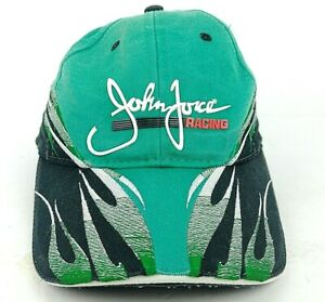 Vintage NHRA Drag Racing John Force Main Gate Racing Hat Cap Green Strap Back
