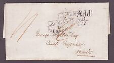 "1837  boxed ""Missent to Glasgow"" in error, Add 1/2d & Too Late on reverse entire"