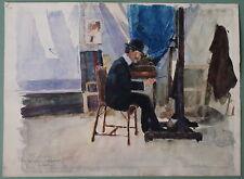 Toni Angerer im Atelier, Aquarell, frühes 20 Jhd,