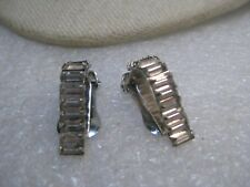 "Vintage Baguette Rhinestone Clip Earrings, Art Deco Themed, 1"", Silver Tone"