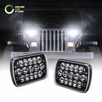 Black H5054 H6054 7x6 5x7 LED Headlights for Jeep Wrangler YJ Cherokee XJ D21