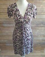 Daisy Fuentes Women's Petite Small V Neck Cap Sleeve Knit Dress Empire Waist