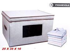 SCATOLA BOX CONTENITORE PIEGHEVOLE PER INDUMENTI IN PLASTICA RIGIDA CM 25X35X16