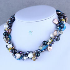 """18"""" 3-20mm Multi Color Blue shell 3Row Freshwater Pearl Necklace"""