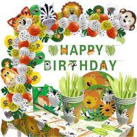 Safari Jungle Animal Theme Tableware Set Kids Birthday Party Supplies Decor Y