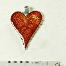 Handmade .900 Silver Resin Red  Pendant with FREE Giftbox
