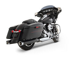 "2017 HARLEY TOURING RINEHART RACING 4"" SLIP ONS - BLACK WITH CHROME END CAPS"