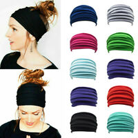 Women Yoga Running Turban Soft Head Wrap Elastic Stretch Wide Headband Hairband