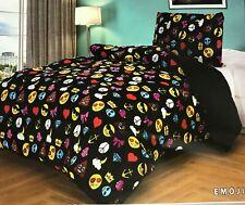 2-Pcs Super Soft TWIN Borrego/Sherpa Flannel Comforter/Blanket Set - EMOJI Black