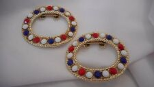 "Vintage ""TIPTOE"" Shoe Clips Red White & Blue Glass Rhinestones Oval Gold-tone"