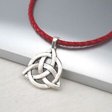 Red Leather Ethnic Tribal Necklace Silver Alloy Celtic Symbol Pendant Braided