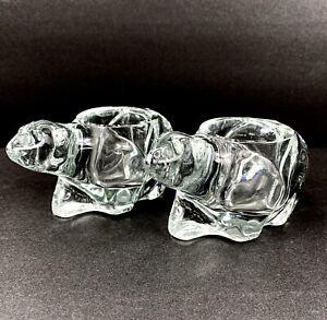 Indiana Polar Bear Candle Holders Clear Glass Crystal Tea Lights Votive Vintage