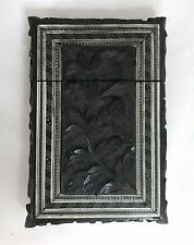 Intricate 19th Century Colonial India Carved Wood Calling Card Case w/ Marquetry