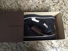 Auth LOUIS VUITTON Embossed Monogram Black Leather Street Sneakers 11.5 44.5