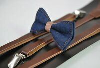 Boy Kids Navy Blue Denim Caramel Faux Leather Bow tie + Brown Leather Suspenders
