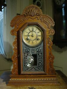 "ANTIQUE RARE ANSONIA 1901 ""KENSICO"" OAK PARLOR OR SHELF CLOCK WORKING WELL"