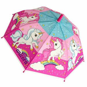 Kids Childrens Toddler Unicorn Magical Dome POE Walking Umbrella School Rain