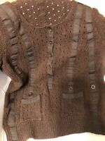 CHLOE 100% MERINOS WOOL BROWN SWEATER  2 POCKETS, MADE IN ITALY,  SIZE M. SALE!