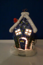 Russ Berrie Snow Covered Cabin Tea Light Candle Holder Hand Painted in China