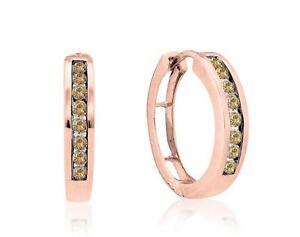 14K Rose Gold Diamond Hoop Earrings Chocolate Brown Channel Set Diamonds .50ct
