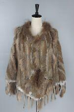 NEW Knitted Rabbit Fur Big Poncho with Raccoon Fur And Procket Tassels Shawl