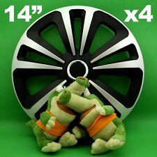 "Hubcaps 14"" Terra 4 x Wheel Trim Cover BLACK+SILVER for RENAULT Clio Kangoo"